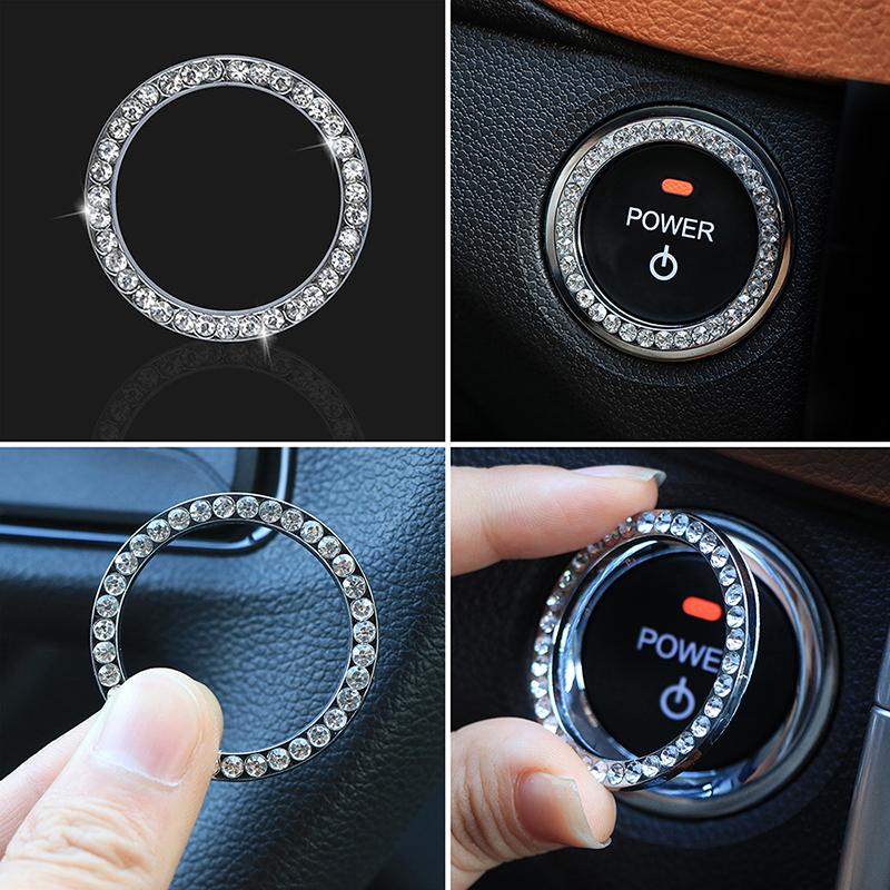 1x Auto Car SUV Decorative Silver Accessories Button Start Switch Diamond Ring